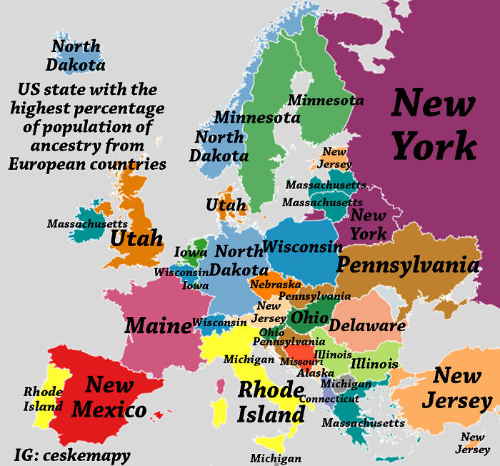 In Which State You Can Find The Highest Percentage Of People With Ancestry From Every European Country?