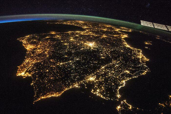The Iberian Peninsula At Night By Nasa