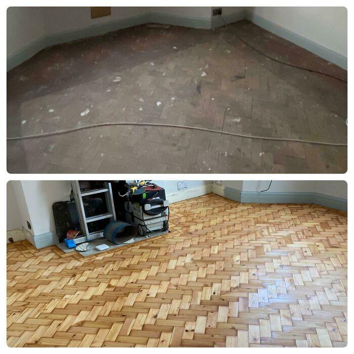 1930's Parquet Flooring Restored Today!