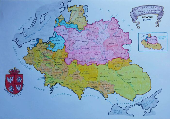 Hand-Drawn Map Of The Polish-Lithuanian Commonwealth In 1618, By Me