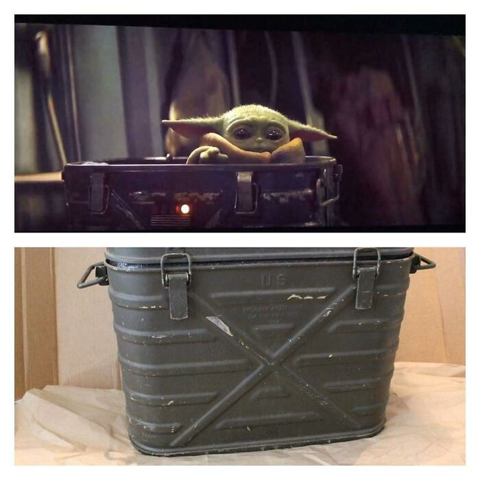 Baby Yoda in the Mandalorian is in a US military marmitecan.