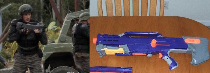 In Terra Nova (2012), The guns are actually spray painted Nerf guns.