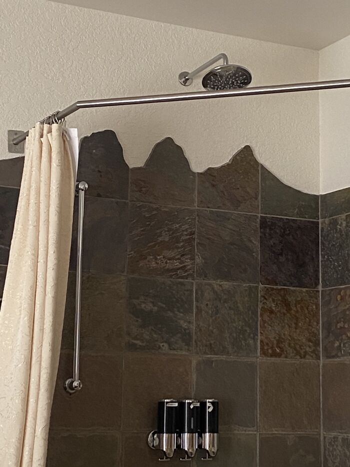 Shower Tiles Are Cut Into Mountain Shapes, In My Hotel In A Mountainous Destination