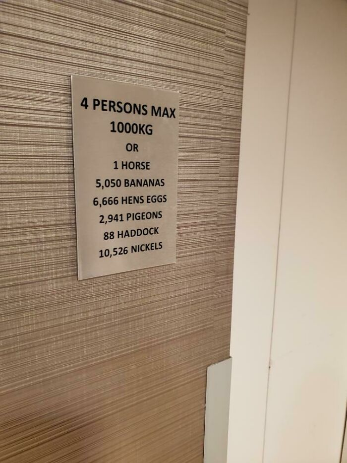 The Elevator Load Limit Sign In My Hotel