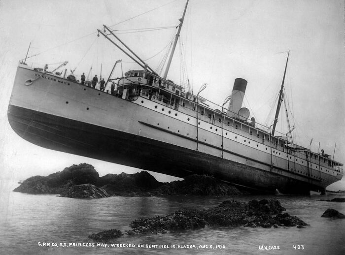 The Ss Princess May Was A Steamship Built In 1888. The Ship Is Best Known For Grounding In 1910, Which Left The Ship Sticking Completely Out Of The Water. This Is One Of The Most Famous Shipwreck Photographs.