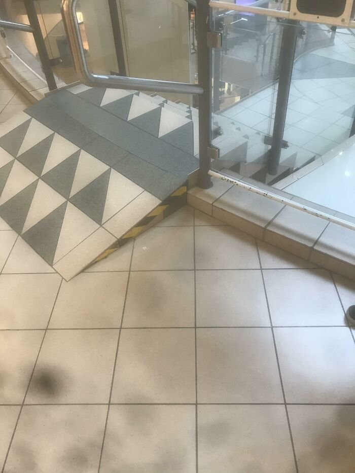 Wheelchair Ramp To A Staircase In A Mall In Haugesund, Norway