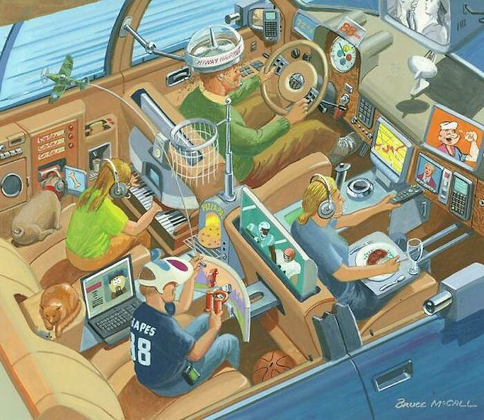 Futuristic Road Trip With The Family (Bruce Mccall)