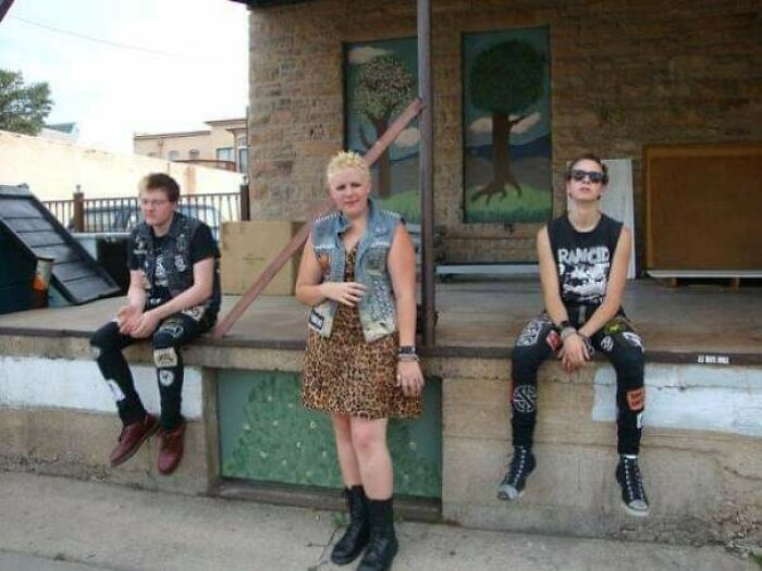Me (In The Middle) At 17... Dudes Wanted Nothing To Do With Me Until 21. In Retrospect, This Makes Sense, As My Biggest Fashion Inspiration Was Tank Girl...