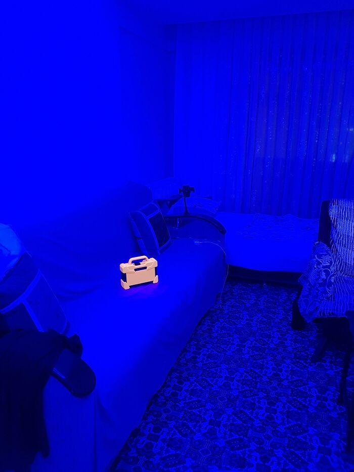 My Orange Toolbox Looks Like A Real Life Pickup Item Under My Room's Blue Light
