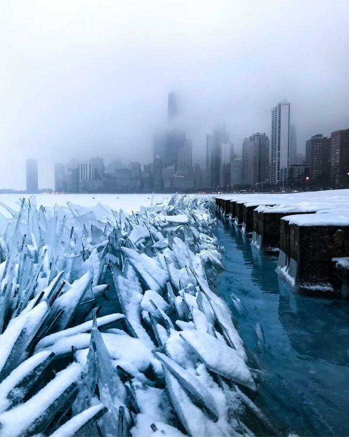 Frozen Water And Waves Of Lake Michigan Makes Something That Looks Like It's Straight Out Of Game Of Thrones Or Saw