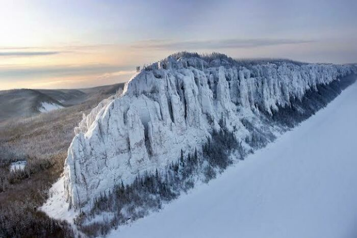 Lena Pillars, A Natural Rock Formation In Yakutsk, Russia Looks Like The Wall From Game Of Thrones