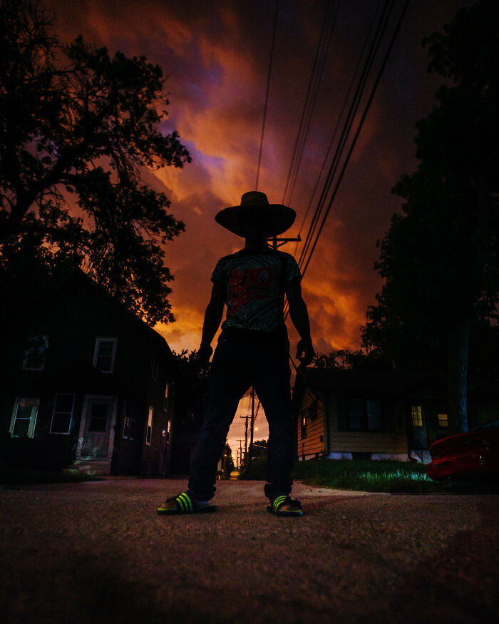 Shot This Photo Of A Neighbor Kid As A Giant Storm Was Passing The Other Night