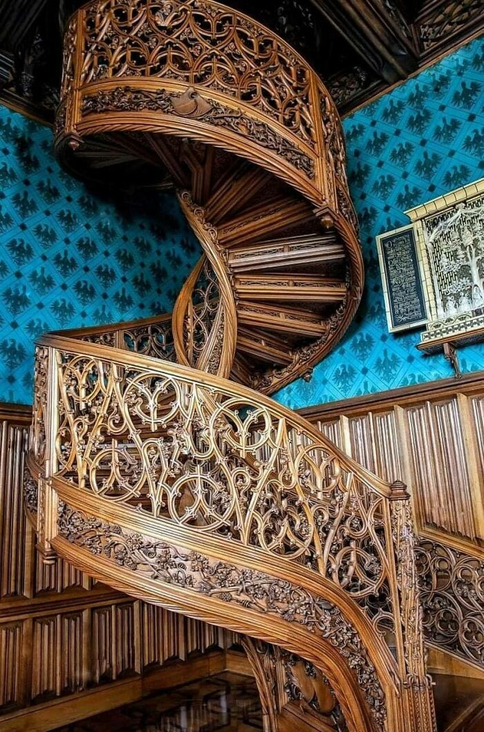 This Spiral Staircase Carved From A Single Tree In 1851 - Located In Lednice Castle, Czech Republic