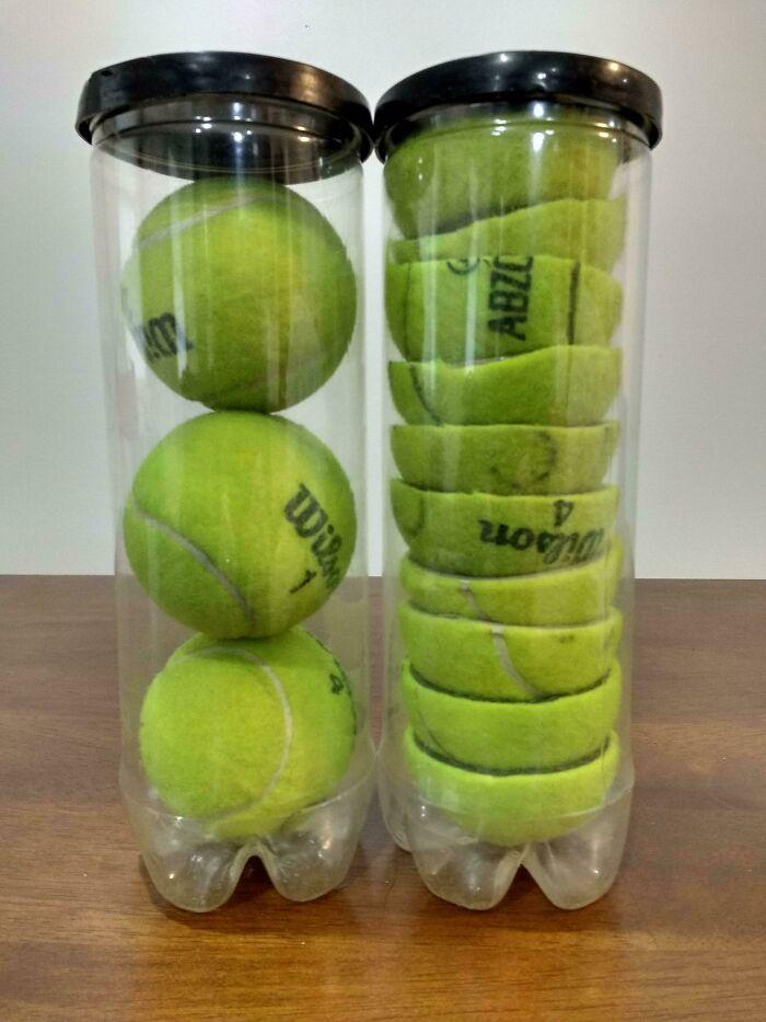 Si cortas las pelotas de tenis por la mitad, puedes guardar muchas más en cada frasco, y ahorras espacio