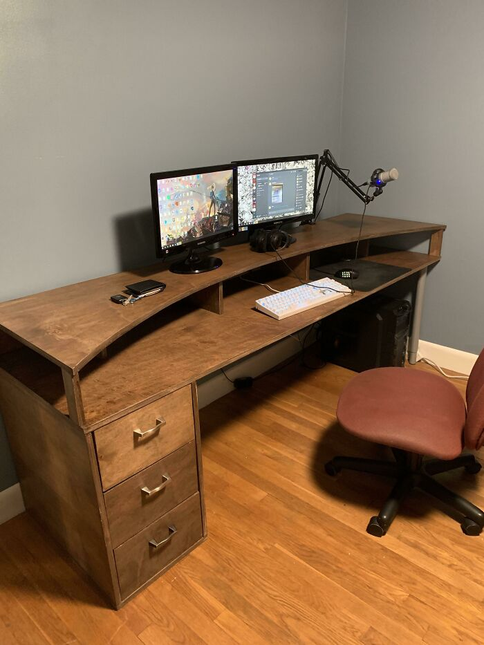I'm Only 16 But I Built A Hardwood Desk Out Of 2 Sheets Of 4x8 Maple Plywood.