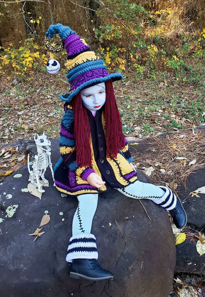 """My Daughters """"Sally Witch"""" Costume I Crocheted"""