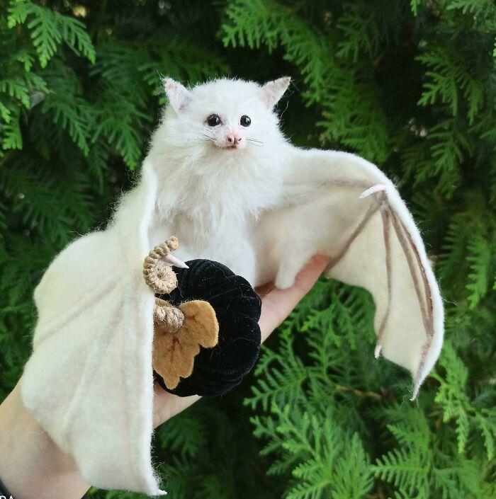 I Made This Needle Felted Albino Bat