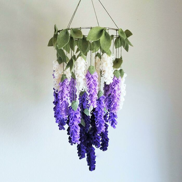 Made A Purple Ombre Wisteria Mobile Out Of Felt