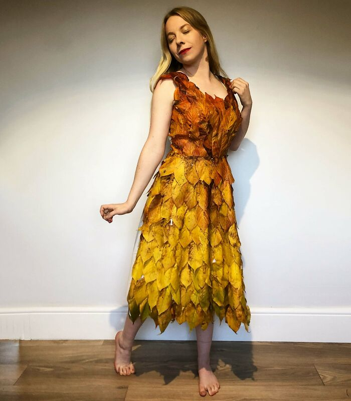 I Made A Dress Out Of The Leaves In My Garden. It Was Either This Or Rake Them All Up, Seemed A Shame For Them To Go To Waste.