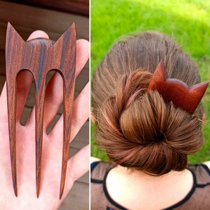 I Made 3-Prong Wooden Hair Fork With Cat Ears Headband