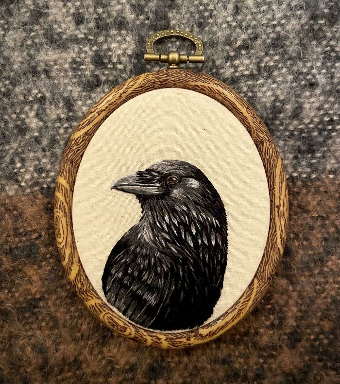 After 40 Hours And A Lot Of Black Embroidery Floss, I Finally Finished This Crow Embroidery!