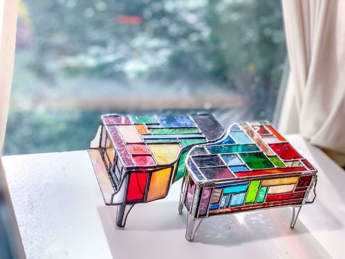 Made These Glass Piano Jewelry Boxes A Bit Ago In Support Of Pride!