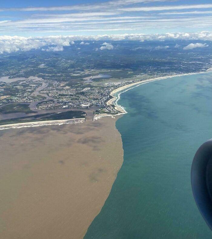 Australian Flood Waters Meet The Ocean