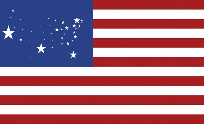 U.S. Flag But Each Star Is Scaled Proportionally To Their State's Population, In Roughly It's Geographical Position.