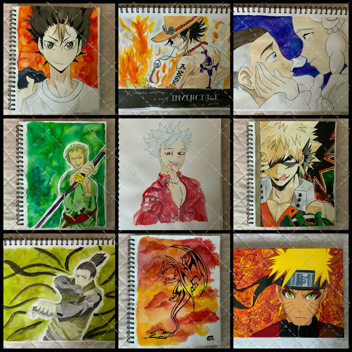 I Paint Anime Characters! (Sorry For The Watermark, I've Had People Pass My Pieces Off As Their Own In The Past). I'm Actually Opening Up An Online Shop Soon, But For Now You Can Follow My Instagram And Order Custom Anime Character Commissions: @sumerki_art I Use Watercolor And Acrylic Paint! :)