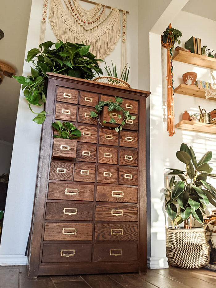 """I Found This Card Catalog Gem Years Ago At An Antique Show Here In Tx And It's By Far My Favorite Piece! I Call It My """"Cdf"""" (Cold Dead Fingers) Because I'll Have It Til I Die. It Needed A Lot Of Love But I Think It Was Worth It"""