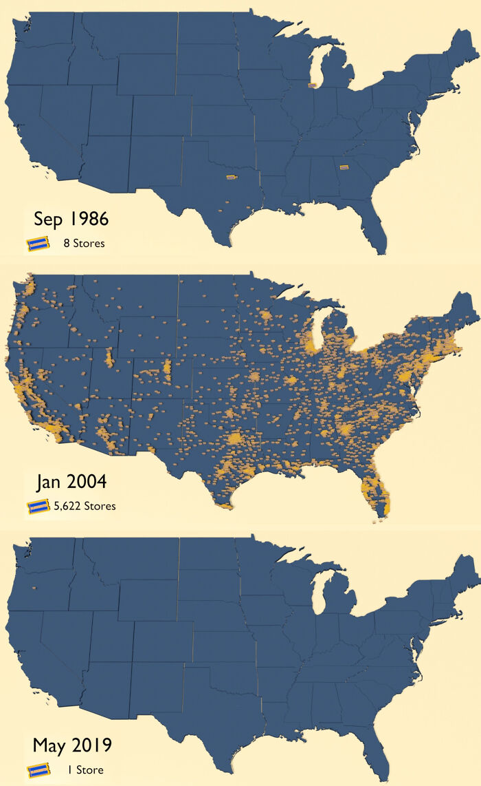 Blockbuster Video Us Store Locations Between 1986 And 2019