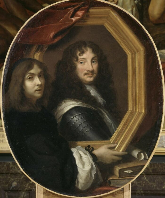 Presumed Portrait Of The Artist Presenting That Of A Soldier By Le Brun, Charles (1640 - 1660)