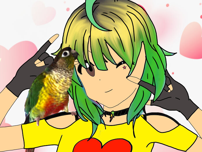This Is Kiwi As A Human You Can See What Kiwi Looks Like On Her Shoulder