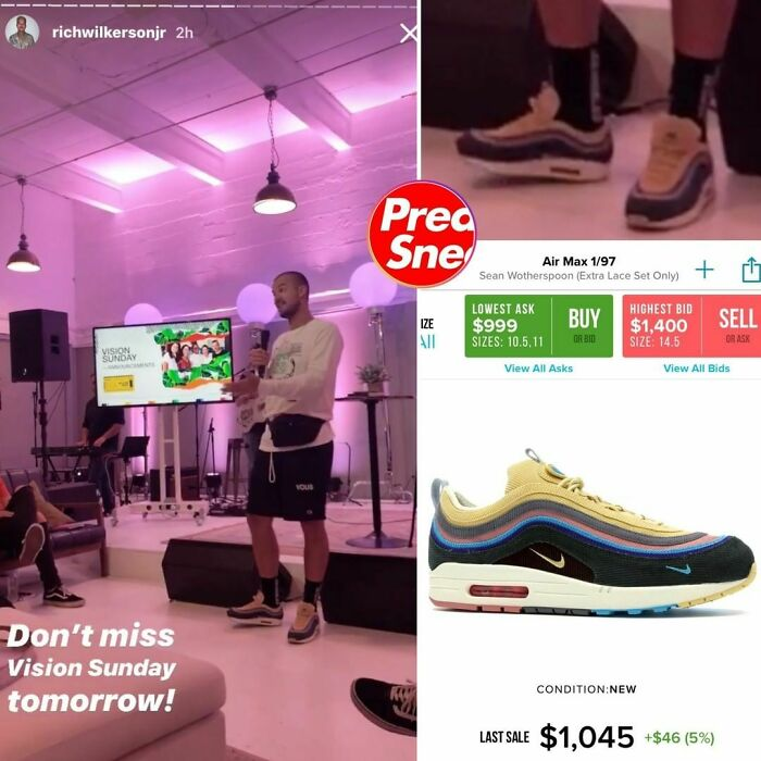 Pastor Rich Dub In The Sean Dub's. Nike Air Max Sneakers, $1,045