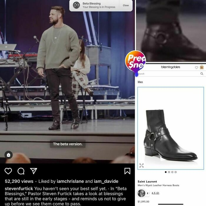 Pastor Furtick With The Fully-Realized Adam-And-Yves Saint Laurent Blessings On Feet $1,095