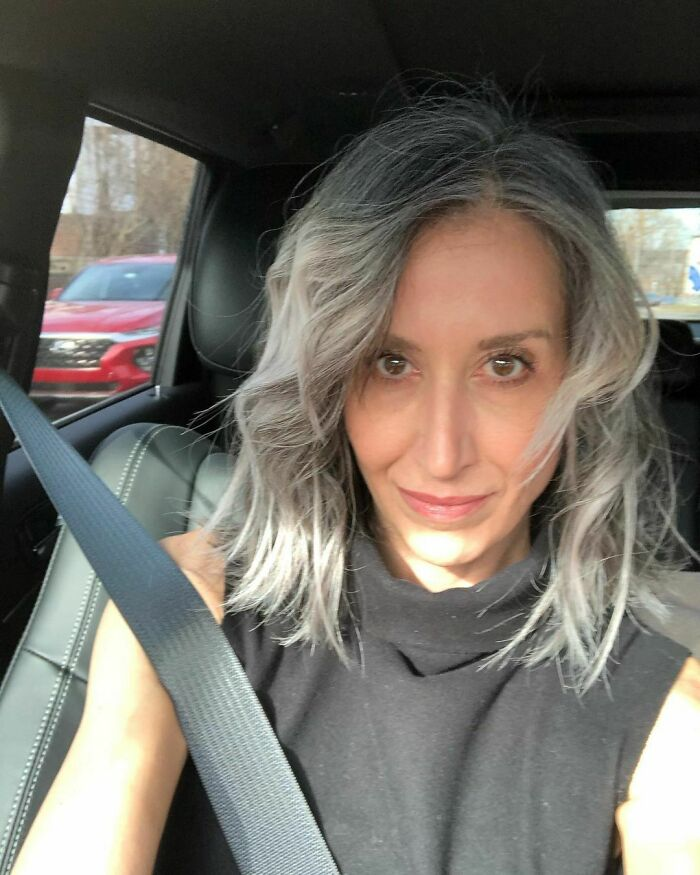 """Because Apparently Car Lighting Is The Best """"Highlighting""""🤣🤣🤣 #carselfie ...not Driving! #over40style #fitover50women #fitat50 #aginggracefully #fitoverfifty #freethesilver #greyhairtransition @openly.grey #silversisters #goinggrey #cottonhairedwomen #greyhairmovement #silvercrown #goinggreyjourney #goinggreygracefully #grombre #dyefree #silverhair"""