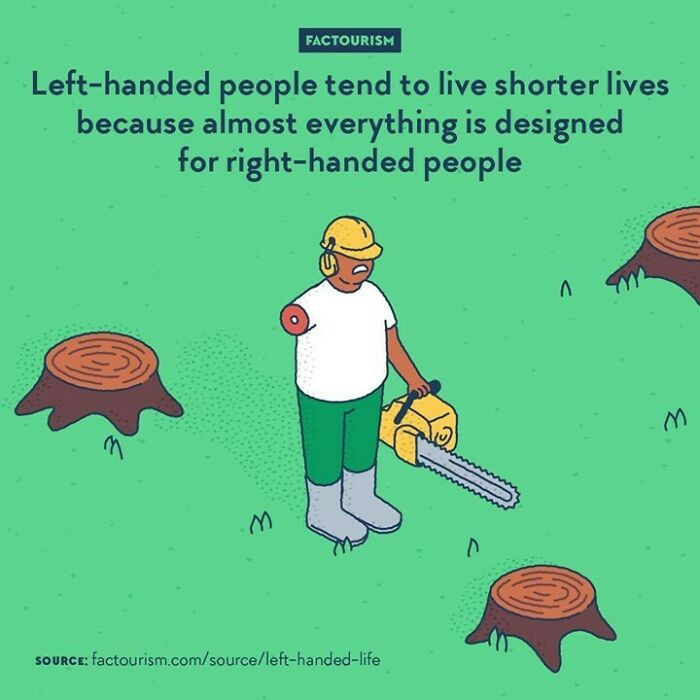 Left-Handed People Tend To Live Shorter Lives Because Almost Everything Is Designed For Right-Handed People  {weekend Repost} studies Have Shown That Life Is On Average Shorter For Left-Handers. One That Looked At 1,000 Californians Found Out That The Left-Handed Portion Died On Average 9 Years Younger. They Discovered That Left-Handers Are Also Five Times More Likely To Die In An Accident.