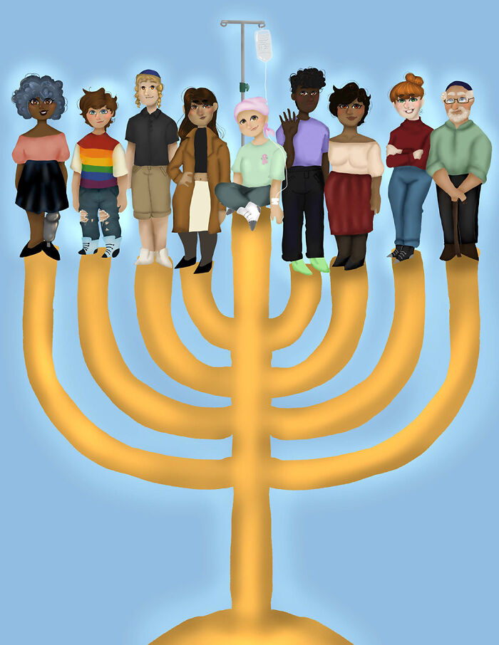 """I Drew This For An Art Contest For A Jewish Magazine/Newspaper In My Area, And I Won The ~grand Prize~!! The Title Is """"Hanukkah For All,"""" And I Made It On Autodesk Sketchbook!"""