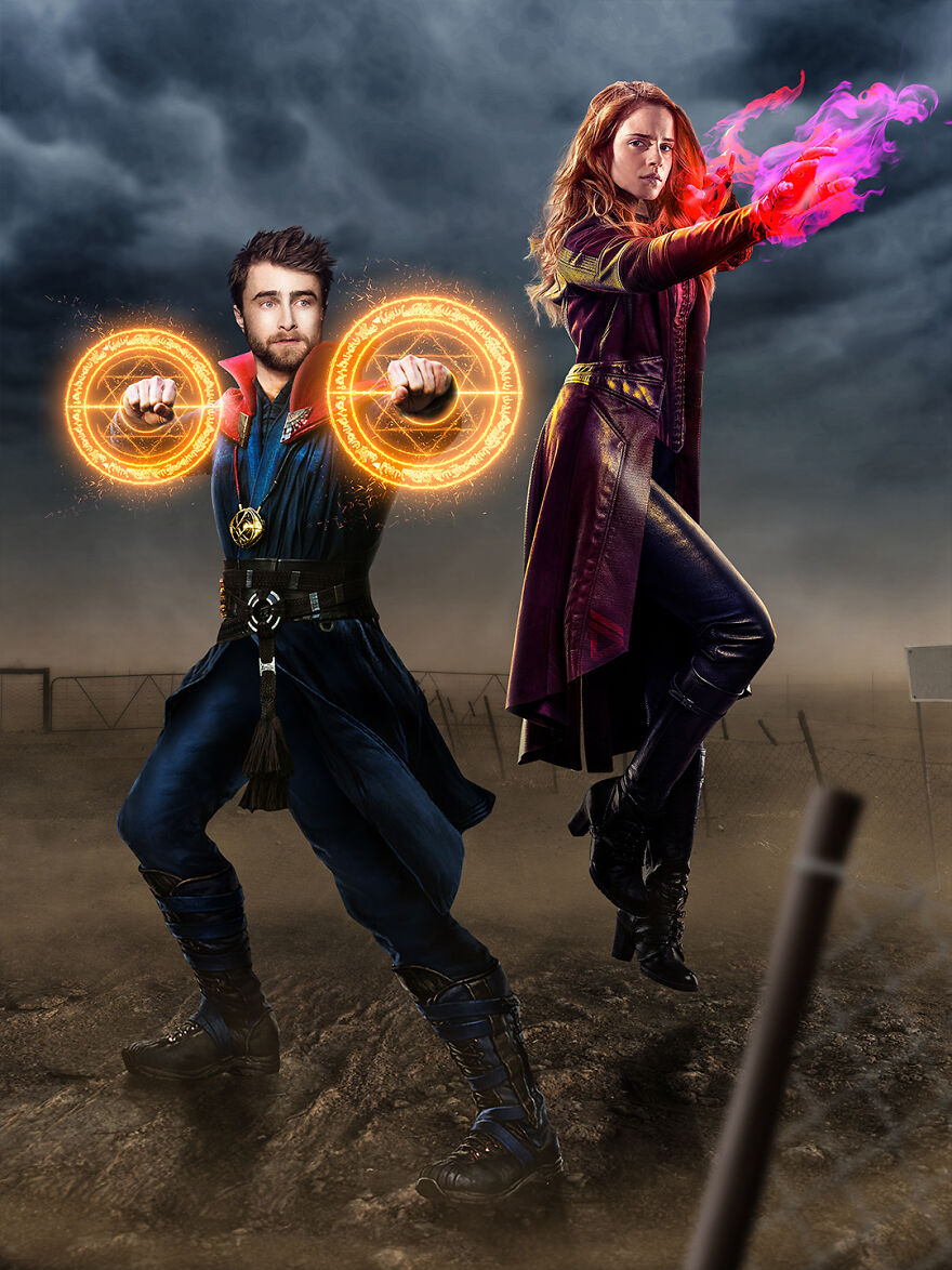 Harry Potter, Hermione Granger And Doctor Strange, Scarlet Witch