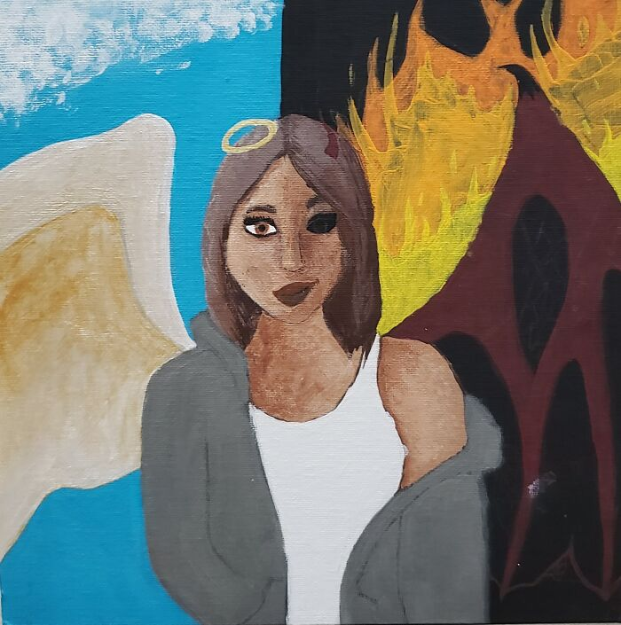 My Most Recent Painting (In The Making). I Just Love The Idea Of Half Angel Half Devil. Sorry, Its Still A Little Messy.
