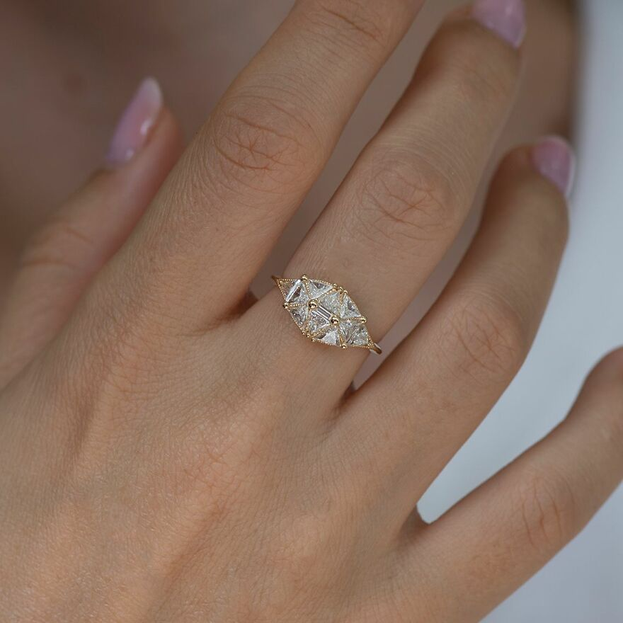 Reflective Dome Ring With Ten Triangle Diamonds