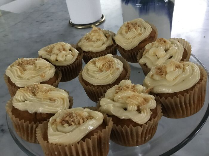 Last Night Made These Delicious Pumpkin Cupcakes With Cream Cheese Frosting And Gram Cracker Bits
