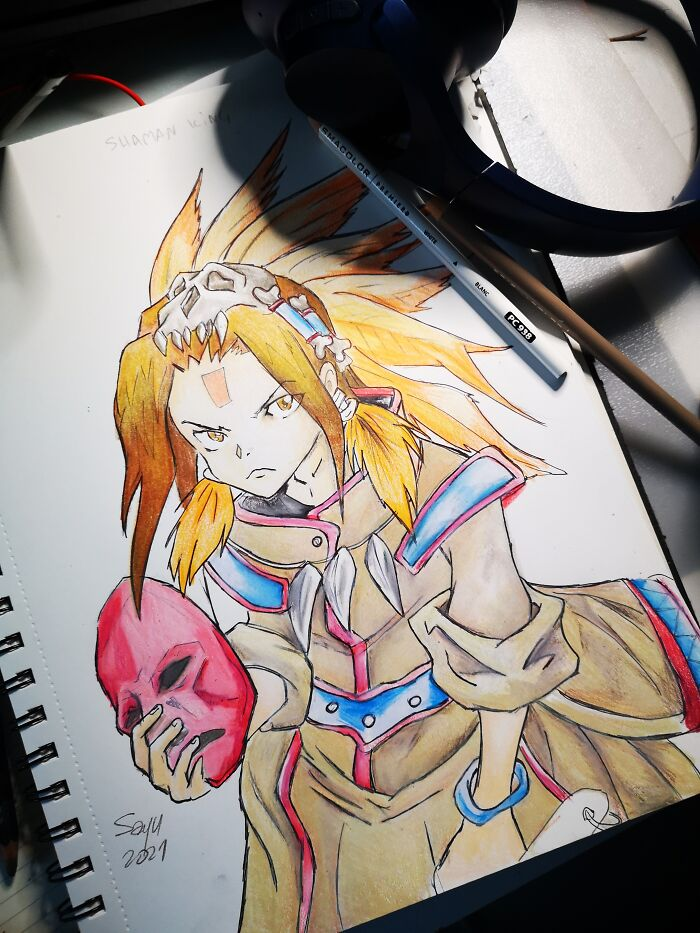 Shaman King Cover. I Used To Draw More, But This Is The First Time In A Year, I've Touched Pencils Again.