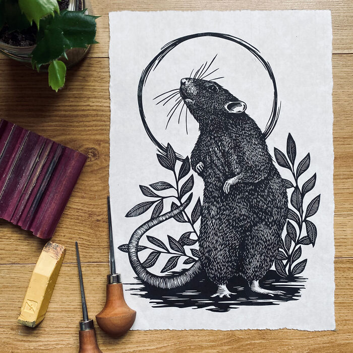 'curiosity' Linocut Print, One Of My Favourites - More Like This On My Instagram: @theblueshrew