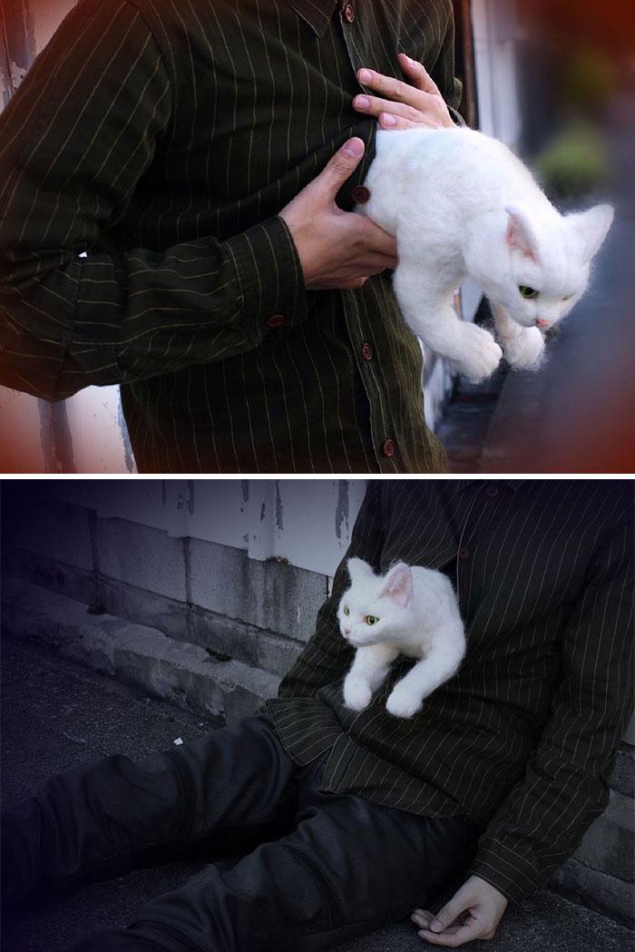 Japanese-Artist-Weird-Felted-Cats-Technology-Sacocho
