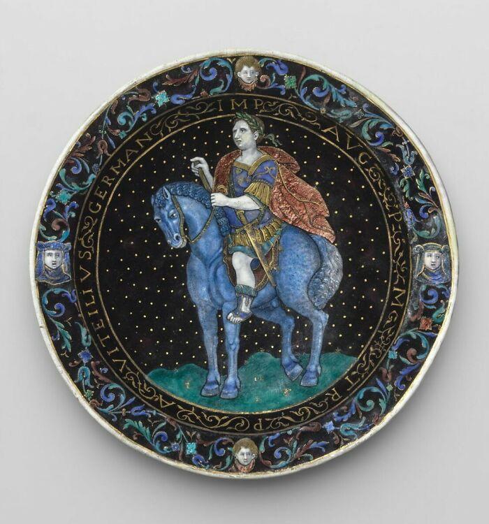 Plate: Emperor Vitellius On Horseback By Limosin, Jean Emailleur, (Around 1620)