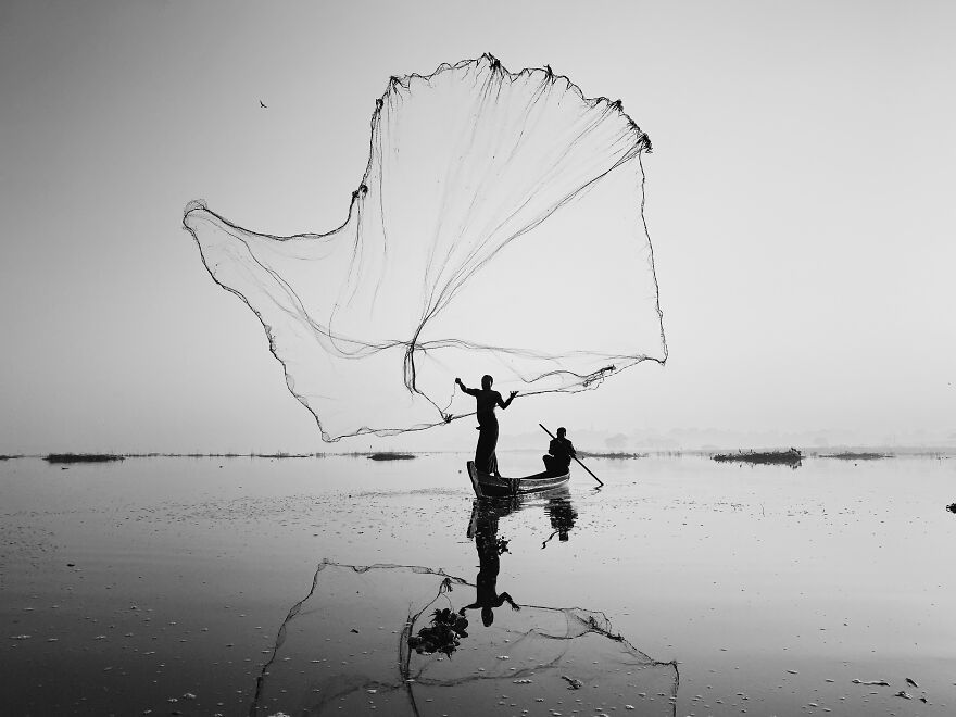 Silhouettes, 1st Place: On Inle Lake By Dan Liu