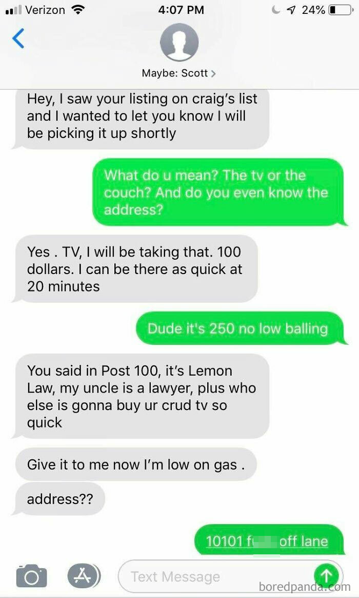 I Hate Craigslist. This Guy Has Been Bothering Me All Day, Never Posting My Number Again