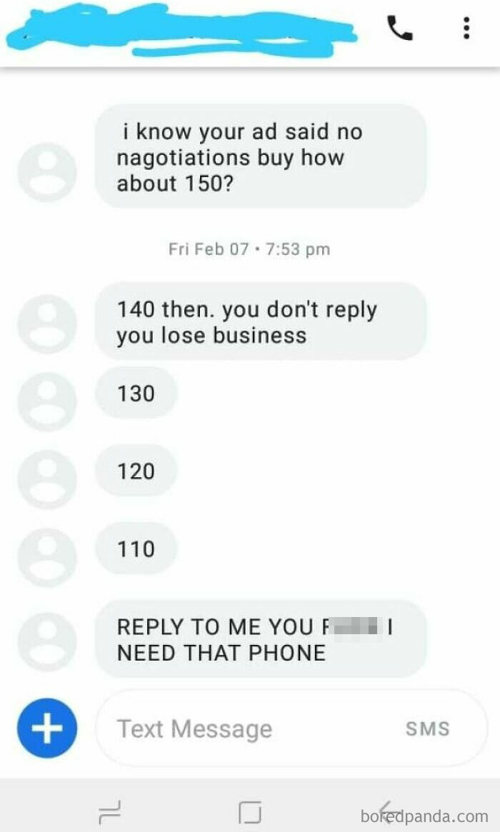 Asking Price 300. It Felt Good Not Replying