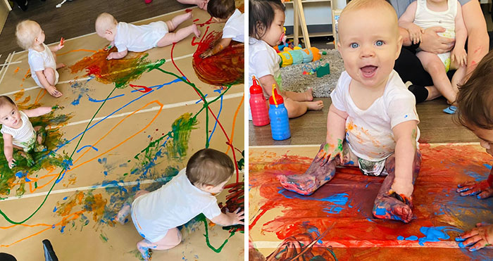 Nursery Sat Children Down For A Group Session Of Handpainting, And It Was Adorable